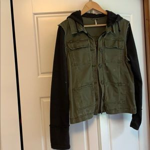Green and black cargo jacket